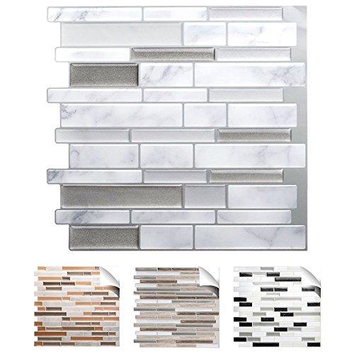 Grandora 4er Set 27 x 25,4 cm Fliesenaufkleber grau marmor Silber dunkelgrau metallic Design 4 I 3D Mosaik Küche Bad Fliesendekor Wandaufkleber Fliesensticker W5534