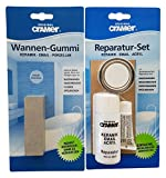 Cramer 16080 Reparatur-Set bestehend für Keramik und Acryl, Farbe weiß und 30303 Wannengummi