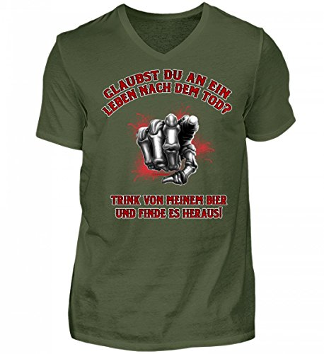Shirtee Hochwertiges Herren V-Neck Shirt - Leben Nach dem Tod Bier - Das Lustige Geschenk für Bier-Fans - Original Tees-Paradise® Stadtgrün