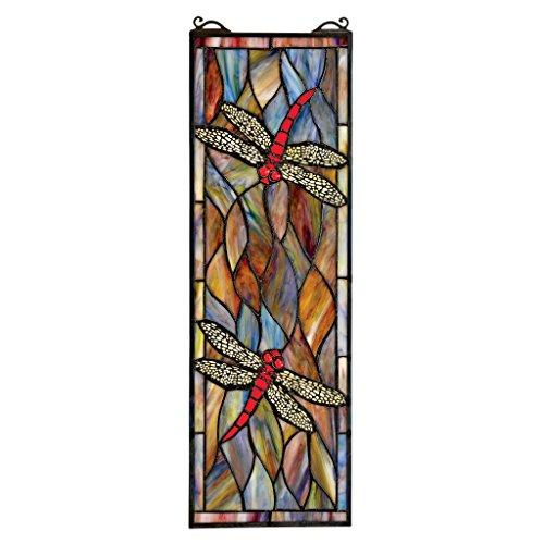 Design Toscano Libelle Hängende Buntglasfensterpaneele, Buntglas, Vollfarbe, 53 cm (Glasmalerei Antike)
