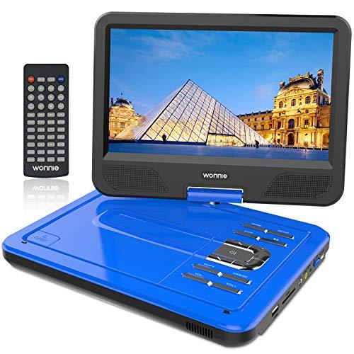 """WONNIE 10.5"""" Tragbarer DVD-Player, Schwenkbaren Bildschirm, HD Display 4-5 Stunden Akku, USB/SD Slot, Kinder (Blau)"""
