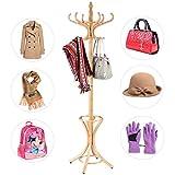 COSTWAY Garderobenständer Kleiderständer Jackenständer mit Schirmständer Garderobe Aufhänger 12 Kleiderhaken 184 cm Farbewahl Holz (natur)