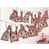 Adventskalender, 24 rot weiss karierte Stoffsöckchen, 13 x 7 cm, 220 cm lang: Zum Befüllen Stoff Weihnachtskalender Advent Adventszeit Schmuck