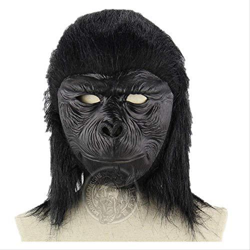 Wbdd Maske Gruseligpferd Einhorn Alpaka Taube Gummi Tier Maske Latex Party Panda Tier Maske Kinder Party Halloween Maskerade Lustige Maske schwarzer AFFE