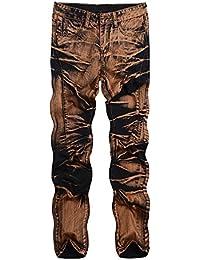 07b010121417 laamei Herren Jeans Regular Fit Denem Mittlere Mittlere Taille Hose  Jeanshose Streetwear