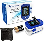 DR VAKU® Pulse Oximeter Fingertip Blood Oxygen SpO2 Heart Rate Monitor FDA CE Approved with Pouch and Battery