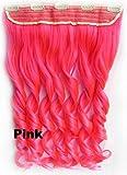 """WIAGHUAS 20 pezzi/lotto donna lungo ricci 5 clip 24"""" 60 cm nero marrone rosa biondo 68 colori sintetici clip nelle estensioni dei capelli rosa 22 pollici"""