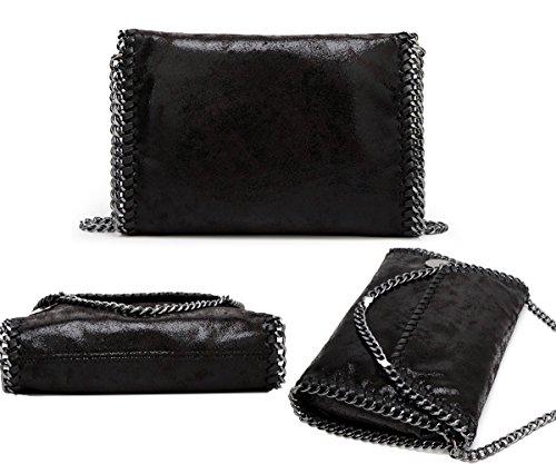 Valleycomfy Borsa da donna Borsa a tracolla elegante Borsa a tracolla metallica Pu Leather Crossbody Borse a tracolla (nero)