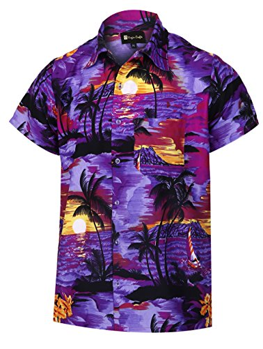 Virgin Crafts Hawaiihemd für Männer Kurzarm Stranddruck Lässige Mode Sommer Shirt, GreenM, XL | Brust: 52