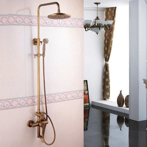 Galvanik Retro Wasserhahn Retail - Luxus Regendusche Wasserhahn aus Messing, Bronze Luxus Dusche Rail Bar, Messing Dusche Spalte, Kostenloser Versand L 16187, Schokolade - Messing-bar Rail