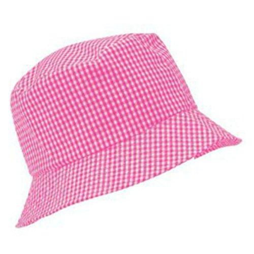 Rosa Kinder-sonnenhut (Adventure Togs Fischerhut/Sonnenhut für Kinder-8-11 Jahre, für Jungen & Mädchen, 100% Baumwolle, rosa Gingham, 56cm)