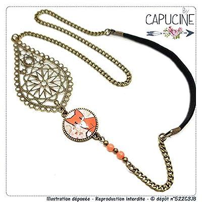 Headband avec Cabochon Verre Renard Orange et Kaki, Estampe et Chaîne Bronze, Accessoire Cheveux avec Élastique