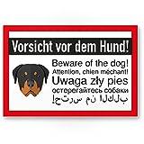 Vorsicht vor dem Hund - Rottweiler Hunde Kunststoff Schild, Hinweisschild mehrsprachig - Türschild Haustüre, Warnschild/Abschreckung Einbruchschutz - Achtung Hund