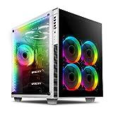anidees AI Crystal Cube V2 Gehärtetes Glas mit 2 Kammern EATX/ATX PC Gaming Gehäuse mit 5 RGB Lüftern / 2 RGB LED Strips AR2-Version - Weiß AI-CL-Cube-W-AR2