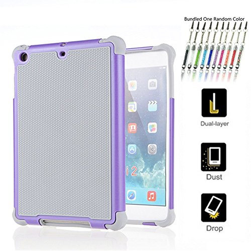 Hot Neu Ipad Mini 1/2/3 Fall, 2 in 1 [Stoßdämpfung] [Anti-Rutsch] [kratzfest] stabiler Tough Innere, High Impact Hybrid Shell Hartschale mit weicher TPU Fall für iPad mini Gray-Purple