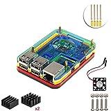 Kit de projet 5 couches Boîtier et ventilateur pour Raspberry Pi 3 Mode b (rainbow)