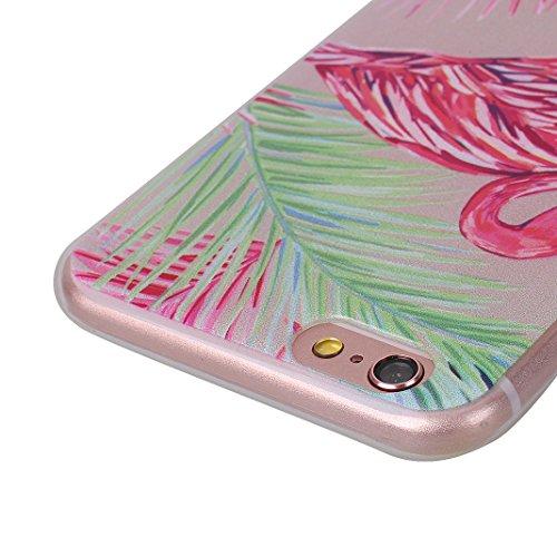Cover Soft per iPhone 6 Plus / 6S Plus, Asnlove Morbida Caso Ultra Sottile TPU Gomma Gel Custodia Motif di Colore Cassa Antiurto TPU Silicone Trasparente Case Posteriore, Fenicotteri - Colore 5 Colore 3