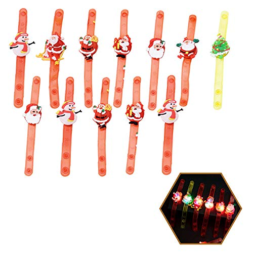 Tumao LED Armband Set, 12 Stück Weihnachten Kinder LED Cartoon Flash Light Armband für Weihnachten Geburtstagsparty Halloween Party Disco Konzert Geburtstag Weihnachten Kinder Spielzeug.