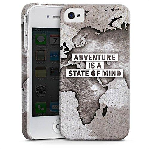 Apple iPhone 6 Hülle Case Handyhülle Weltkarte Spruch Abenteuer Premium Case glänzend