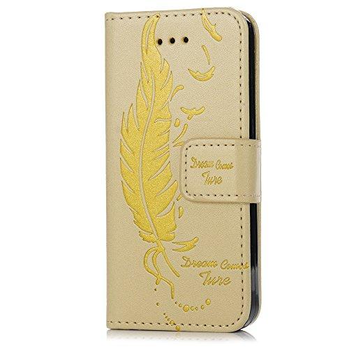 iPhone 5/iPhone 5S/iPhone SE Smartphone Etui à Rabat - YOKIRIN Case Cover Couverture de PU Cuir Support Carte Slots Bouton Magnétique Housse de Protection Simplicité - [Impression Plume] Noir Or