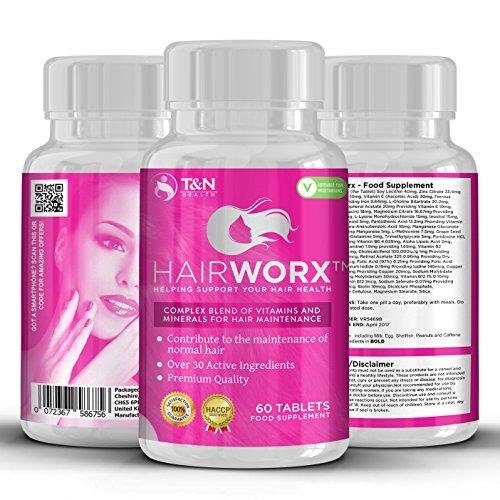 hairworx Haar Vitamin Tabletten für schnelleres Haarwachstum–Diese enthalten Nahrungsergänzungsmittel eine Komplexe Mischung aus über 30Active Mineralien und Vitamine Essential für gute Haar Pflege und Wartungsarbeiten–auch verbessert das Nachwachsen von dünner werdendem Haar, Haut und Nägel–60Kapseln (2x Monate Supply)–geeignet für Damen und Herren, Für Dickere und gesünderes Haar–hairworx Tabletten aus TN Gesundheit geeignet für Vegetarier mit Geld-Zurück-Garantie. (Haar-vitamin Gute)