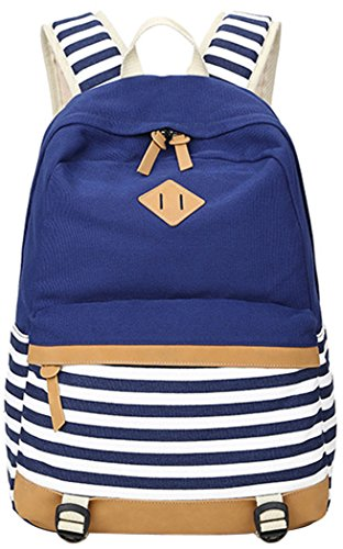 All Outdoor Rucksack Girls Giftdeep Daypack Canvas Backpack Print Style Schoolbag 5 Blue Casual Teenage For Stripe Fashion New 5R4LjA