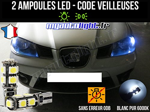 MyAutoLight - Pack Ampoules Voiture Pour Ibiza 6L - Veilleuses - Blanc Pur Effet Xénon