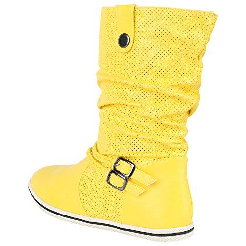 napoli-fashion Sportliche Damen Stiefeletten Stiefel Flache Boots High & Low Top Jennika Gelb