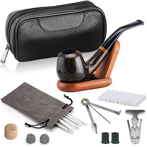 joyoldelf Ebano di Lusso Tabacco Pipa, Approfondito e Antivento Tabacco Pipa con Portatabacco, Pipa Supporto con Pipa Accessori
