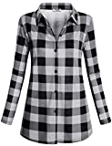 Hibelle Karierte Bluse,Damen Mode Classic Kragen Tuniken Slim Plaid Top Casual Atmungsaktiv Langarm Alltag Kariert Fashion Hemd Button-Down Tunika Regular Fit Shirt Schwarz weiß Mittel M