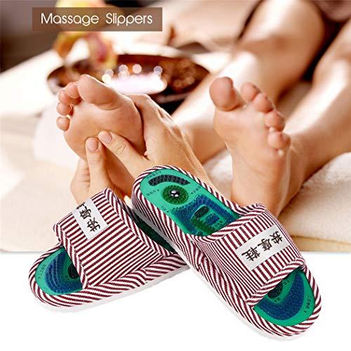 Unbekannt Ckeyin Gestreifte Massage Hausschuhe Magnet Indoor Fußmassage Hausschuhe