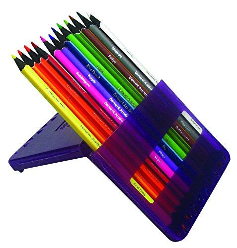 Derwent Academy Flip Set da 12 Matite Colorate, 24 Colori con Astuccio Regolabile