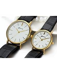 JewelryWe 2pcs relojes parejas, relojes elegante de cuero negro para hombre mujer, relojes casuales de enamorados, buen regalo de san valentín