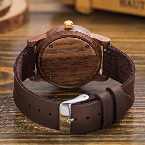 Natürliche hölzerne Uhr Sentai Holzuhr für Mann und Frau Lederarmband stilvolle und schöne handgemachte leichte Quarzuhren Unisex Armbanduhr Braun - 4