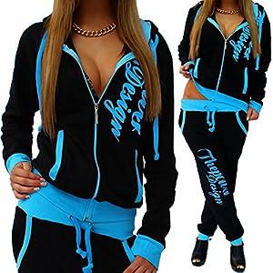Unbekannt Damen Jogginganzug Trainingsanzug Hose + Jacke 2tlg Set Fitness große größen A.Power
