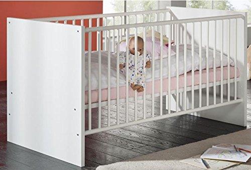 Dreams4Home Babybett 'Anni', Kinderbett Gitterbett Juniorbett Babyzimmer Kinderzimmer, weiß matt oder Sonoma Eiche sägerau weiß matt, Farbe:Weiß matt -