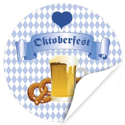 48 Oktoberfest 2019 Etiketten, rund/Zünftig - blau weiss kariert/zur Dekoration/Aufkleber/Sticker/Einladung