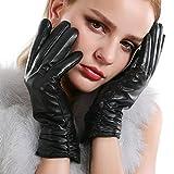 VEMOLLA Damen Winter Handschuhe Echt Leder Gefüttert Lederhandschuhe Wolle Im Innern Schwarz Size 7.5