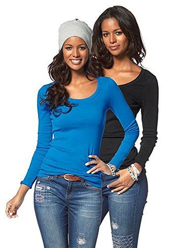 Flashlights Damen Langarmshirt Longshirt Langarm Shirt 2er Set Pink