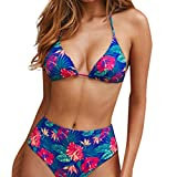 Bañadores Mujer Subfamily, Sujetador para Mujer Sujetador con Relleno Floral Bikini Conjunto Traje de Baño Conjunto de Traje de baño Dividido en Bikini de Flor Sexy para Mujer (S, Rojo-1)