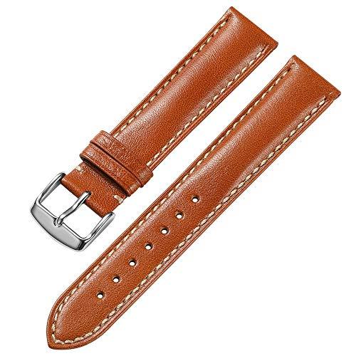 iStrap 18 mm 19mm 20 mm 21mm 22 mm echt Leder Uhrenarmband Armband gepolstert Kalbsleder Gurt Edelstahl Schnalle Super Weich - Schwarz Braun Dunkelbraun (19 Mm Echt Leder Uhrenarmband)