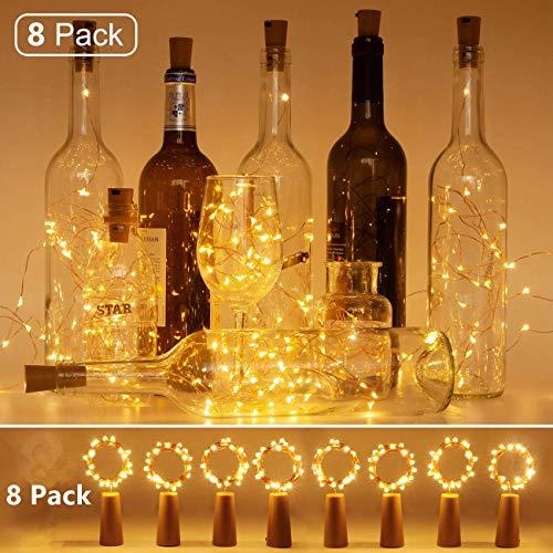 Luci di sughero per bottiglie di vino, 8 confezioni a batteria 2m / 20 led luci a filo di rame per bottiglia fai da te, natale, compleanno, matrimonio e decorazioni per feste, bianco caldo