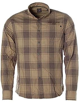 Kitaro - Camisa casual - Cuadrados - con botones - Manga Larga - para hombre