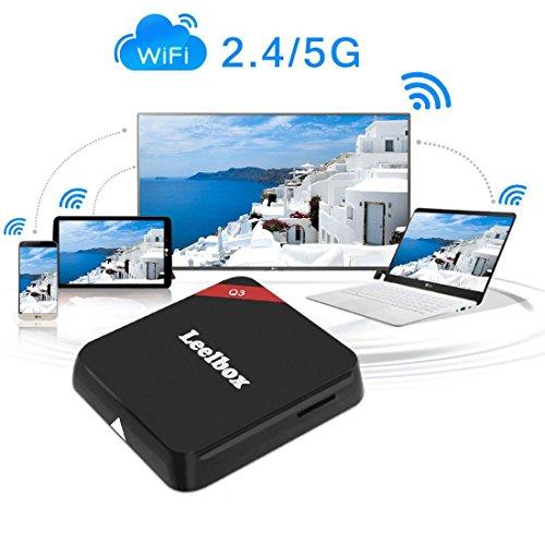 (2016 die Beste) Leelbox Q3 Android TV Box 2 GB/16GB 5G / 2.4G Dual Wi-Fi Bluetooth 4.0 Amlogic S905 Android 5.1 mit 1000M LAN KODI 16.1 Alle Vorinstallierte Pluggins Update von M9S Streaming Media Player - 5