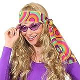 NET TOYS 70er Jahre Stirnband Hippie Haarband pink-grün Flower Power Kopfband 60er Jahre Haar Band Peace Haarschmuck Fasching Mottoparty Kopfschmuck Karnevalskostüme Accessoires