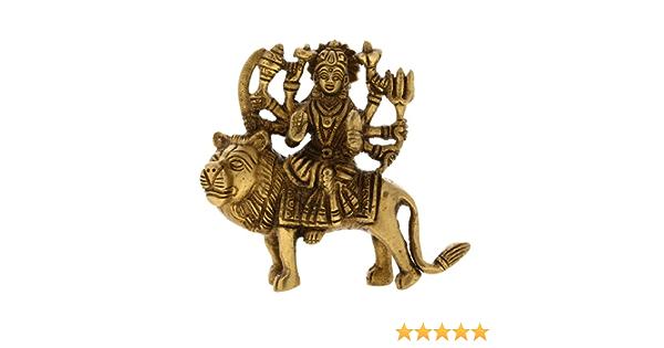 Shalinindia Durga dea ind/ù Religiosa Figurine Ottone Statua