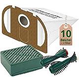 Spar Angebot 10 weiße Staubsaugerbeutel + Aktiv Hepa Filter Set und Ersatzbürsten passend für Vorwerk Tiger VT 251 252 Staubsauger mit ET 340 EB 350 351
