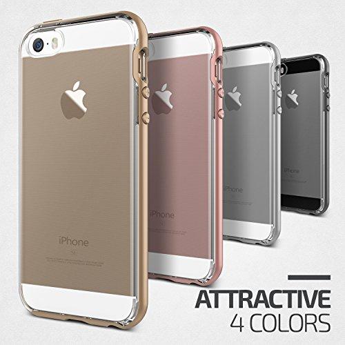 iPhone SE Hülle, VRS Design Silikon Schutzhülle [Silber] Transparent Schlagfesten Stoßstangen Durchsichtige Case TPU Handyhülle Clear cover [Crystal Bumper] für iPhone 5/5S/SE Gold