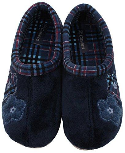 COSERO Damen Pantoffel Hausschuhe Geschlossen mit Fester Sohle Herausnehmbare Innensohle Gr. 36-42 MARINO/BLAU
