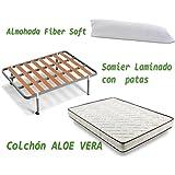 HOGAR24 - Aloe vera + somier basic + almohada fibra fibra, medidas 90x190